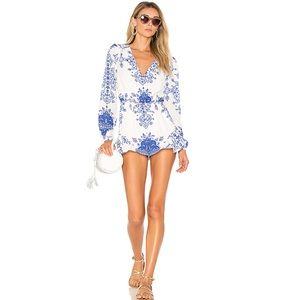 Lovers + Friends Blue Spring Blossom Romper l L